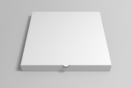 Realistic 3d illustration pizza box mock up on grey background.