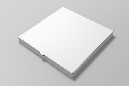 3d illustration pizza box mock up on grey background.