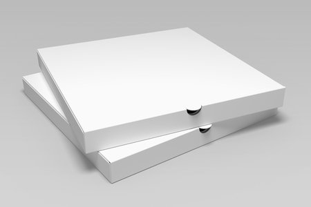 Two 3d rendering pizza box mock up isolated on grey background.