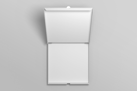 Empty top view opened 3D illustration pizza box mockup.