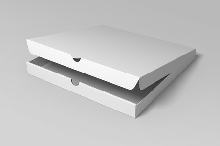 Realistic 3D render pizza box mock up on grey background.