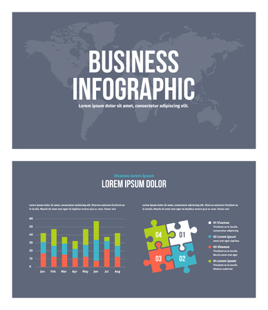 Business infographic presentation slides template No. 1. Editable vector elements.