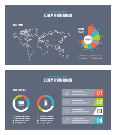 Business infographic presentation slides template No. 4. Editable vector elements. 矢量图像