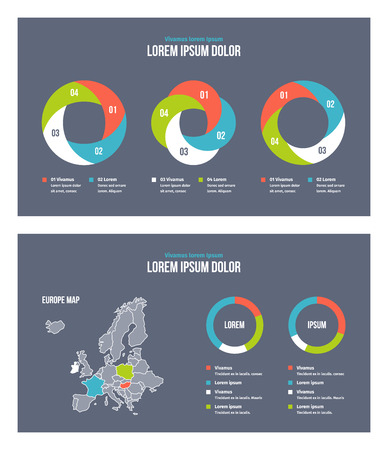 Business infographic presentation slides template No. 7. Editable vector elements.