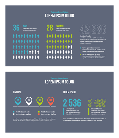 Business infographic presentation slides template No. 8. Editable vector elements. 矢量图像