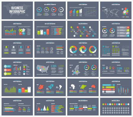 Dark background presentation template. Vector Business infographic. 矢量图像