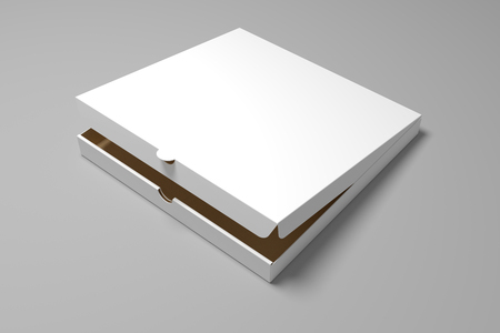 Blank 3D rendering pizza box isolated on grey background. Packaging illustration mock up template.