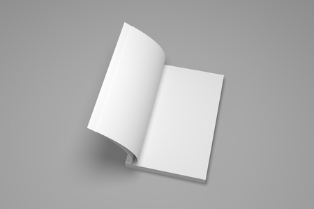 Blank opened soft cover 3D rendering book mock up.