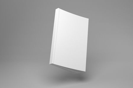 Blank flying soft cover book with spine. White 3D illustration book mock-up.