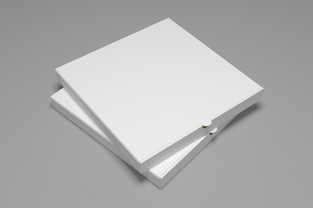 Two blank 3D rendering pizza boxes isolated on grey background. Packaging illustration mock up template.