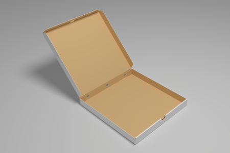 Empty open 3D rendering pizza box on grey. Packaging illustration mock up template.