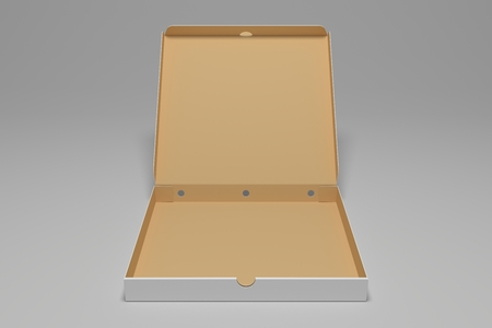 Empty open 3D rendering pizza box. Packaging illustration mock up template. 免版税图像