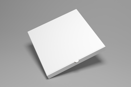 Blank square 3D rendering pizza box on grey background with shadow. Packaging illustration mock up template.