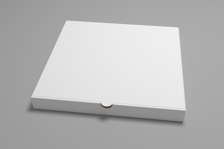 Blank square 3D illustration pizza box. Packaging mock up template.