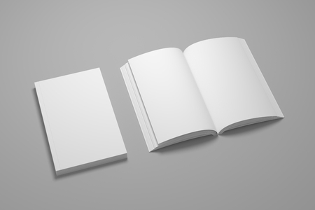 Empty composition of closed book with opened. White 3D illustration of blank book mock-up.