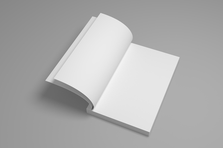 Opened book mock-up. 3D illustration mockup.