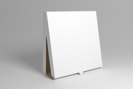 Blank standing 3D rendering pizza box isolated on grey background. Packaging illustration mock up template.
