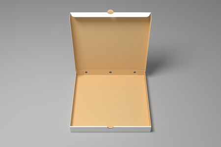 Empty opened 3d illustration pizza box mock-up. Blank packaging box mock up.