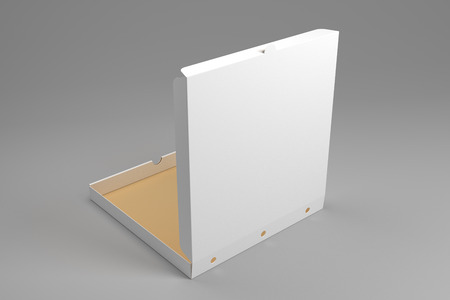 Empty opened 3d illustration pizza box mockup on grey background. Blank packaging box mock up.
