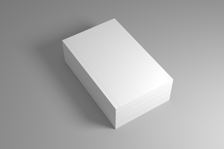 Stack of blank books on gray background with shadow. 3D illustration mock up template.