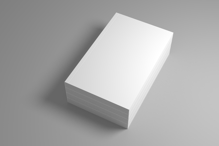 Stack of blank books on gray with shadow. 3D illustration mock up template.