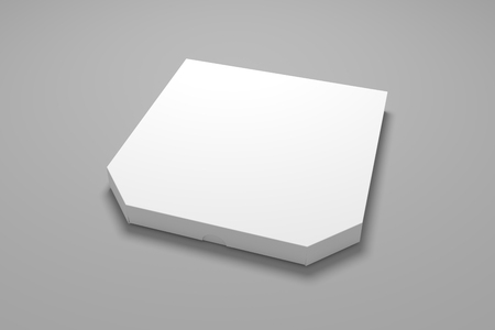 3d illustration pizza box on grey background. Blank packaging box mock up. 免版税图像