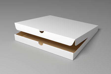 Realistic 3D pizza box isolated on grey background. 3d render illustration mock up.
