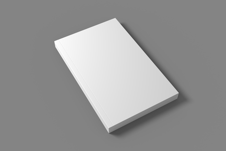 Blank soft cover book mockup. White 3D illustration of closed book mock-up.