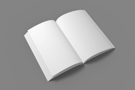 Blank opened soft cover book mockup. White 3D illustration of book mock-up.