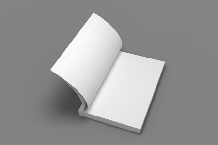 Opened soft cover book mock-up. White 3D illustration of book mockup.
