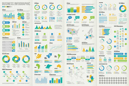 Set of business infographic elements. Vector illustration for making your own layout.