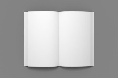 Empty opened book mockup. White 3D illustration of book mock-up in top view.