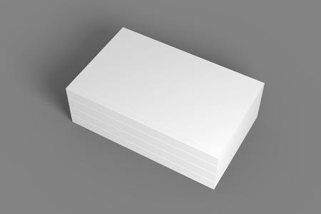 Stack of books on gray. 3D illustration mock up template. 免版税图像