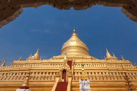 Shwe zi gon pagoda or Paya Temple in Nyaung-U Bagan, Myanmam, Burma Editorial