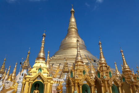 Shwedagon Pagoda in daytime with blue sky, the Pagoda is a famous tourist place in Yangon.Myanmar Burma.