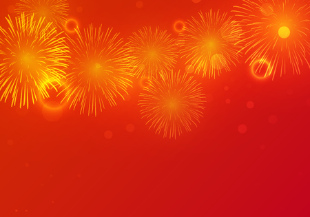 chinese new year card: Golden Fireworks on red background to celebrate on chinese new year Illustration