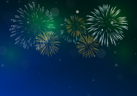 starry night: Brightly Colorful Fireworks on twilight background
