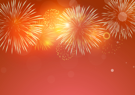 Brightly Colorful Fireworks on red background Illustration