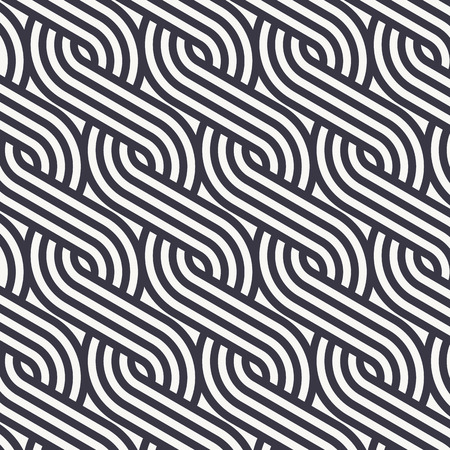 Linear vector pattern repeating braiding lines styles pattern made from a quarter linear of circle. Pattern is on swatches panel