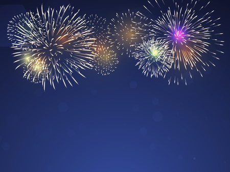 colourful fireworks vector on twilight blue background