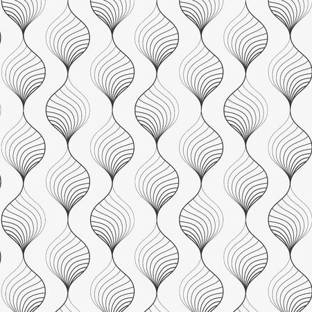 Modello vettoriale. Priorità bassa alla moda astratta con i petali stilizzati della curva di torsione lineare sulla ghirlanda. design grafico pulito per tessuto, eventi, carta da parati, ecc. il motivo è sul pannello dei campioni. Archivio Fotografico - 92212566