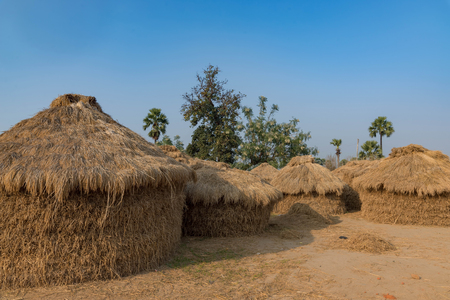 haystacks for feeding animal in India with blue sky in background.
