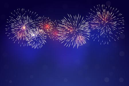 Brightly colorful fireworks with pale smoke from fire on twilight background Vektoros illusztráció