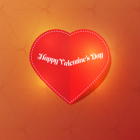 Red paper cut love heart for Valentine's day on dark green background with light. Love invitation cards. Иллюстрация