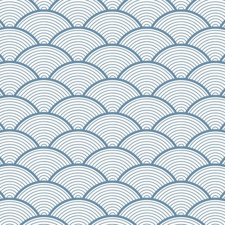 Geometric pattern vector in Japan styles with blue sea wave on linear circle overlapping form arches. It represents power and tactical strength.