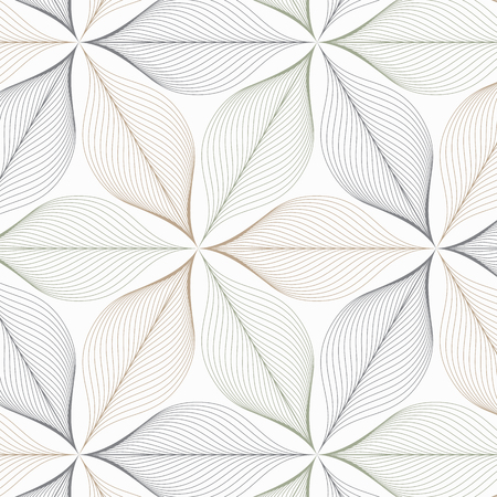 Linear vector pattern repeating abstract leaves or flower or flora in two tone color on hexagon shape. Clean design for fabric, wallpaper, printing etc.