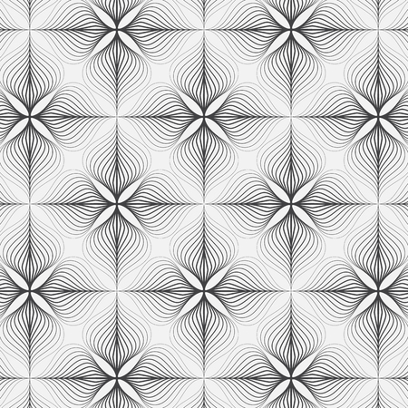 linear vector pattern, repeating abstract a linear leaf or flower each circling on square shape. pattern is on swatch panel Illustration