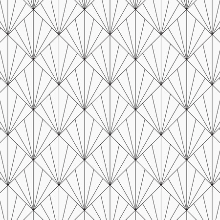 Modern Japanese motif. Interlocking triangles tessellation background. Image with repeated scallops. Fish scale. pattern is on swatches panel