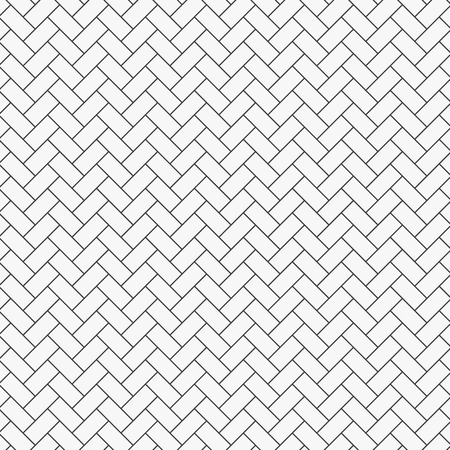 Herringbone pattern. Rectangles slabs tessellation. Seamless surface design with white slant blocks tiling. Floor cladding bricks. Repeated tiles ornament background. Mosaic motif. Pavement wallpaper