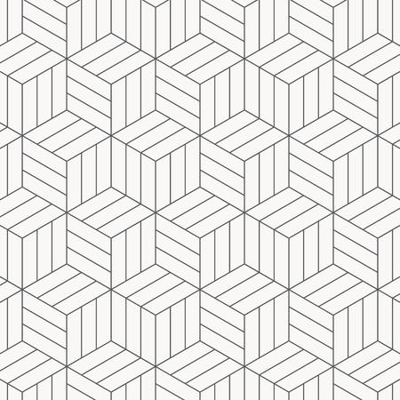 Vektormuster. Moderne stilvolle Textur. Wiederholen von geometrischen Kacheln. Gestreifte monochrome Würfel. Das Muster befindet sich auf dem Farbfeldfeld